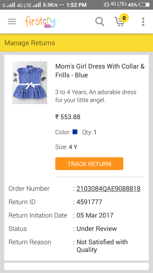 Moms girl dress with collar and frills blue