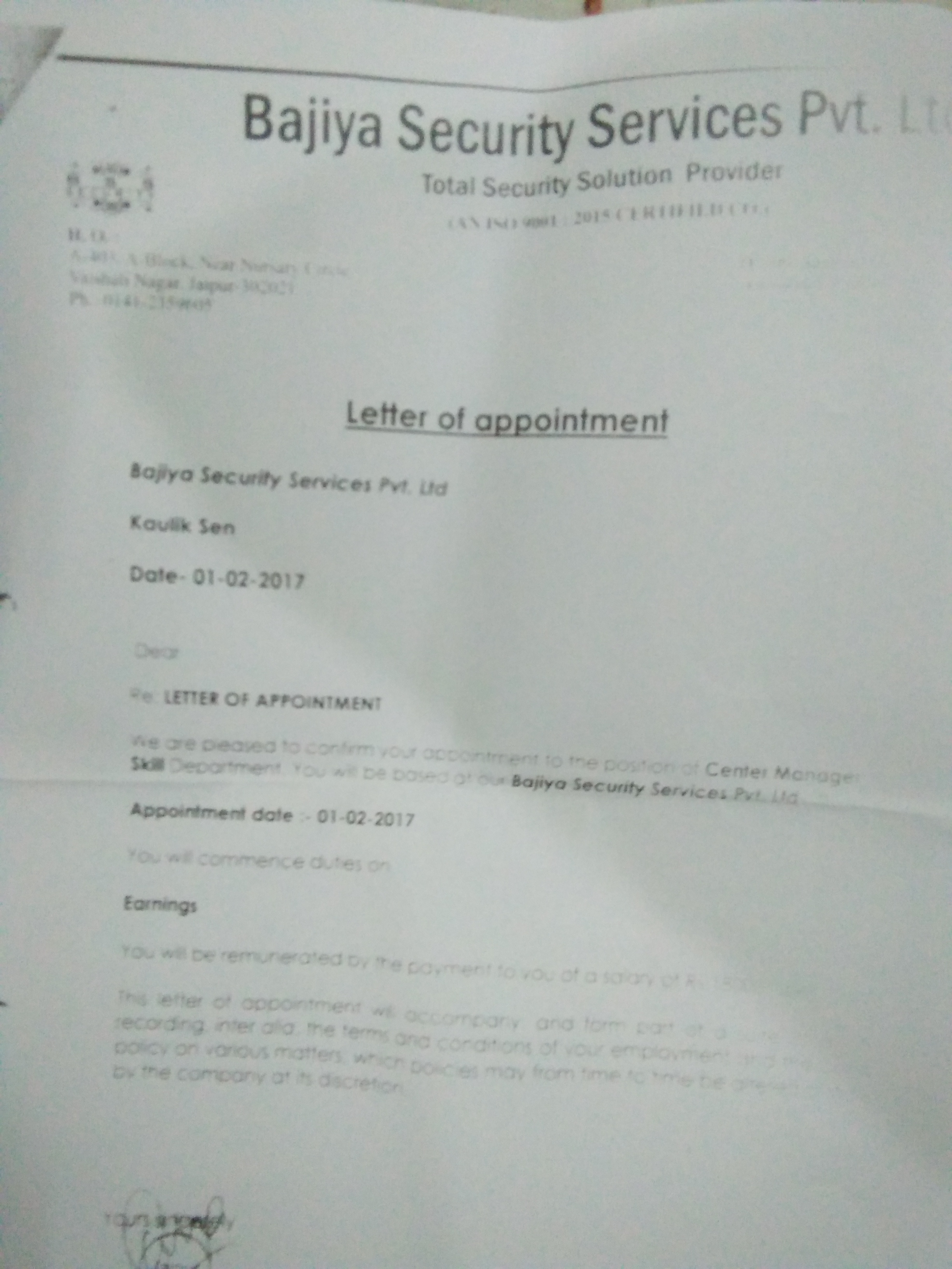 Salary not given for the month February and March 2017 and no proper reply on phone for the salary