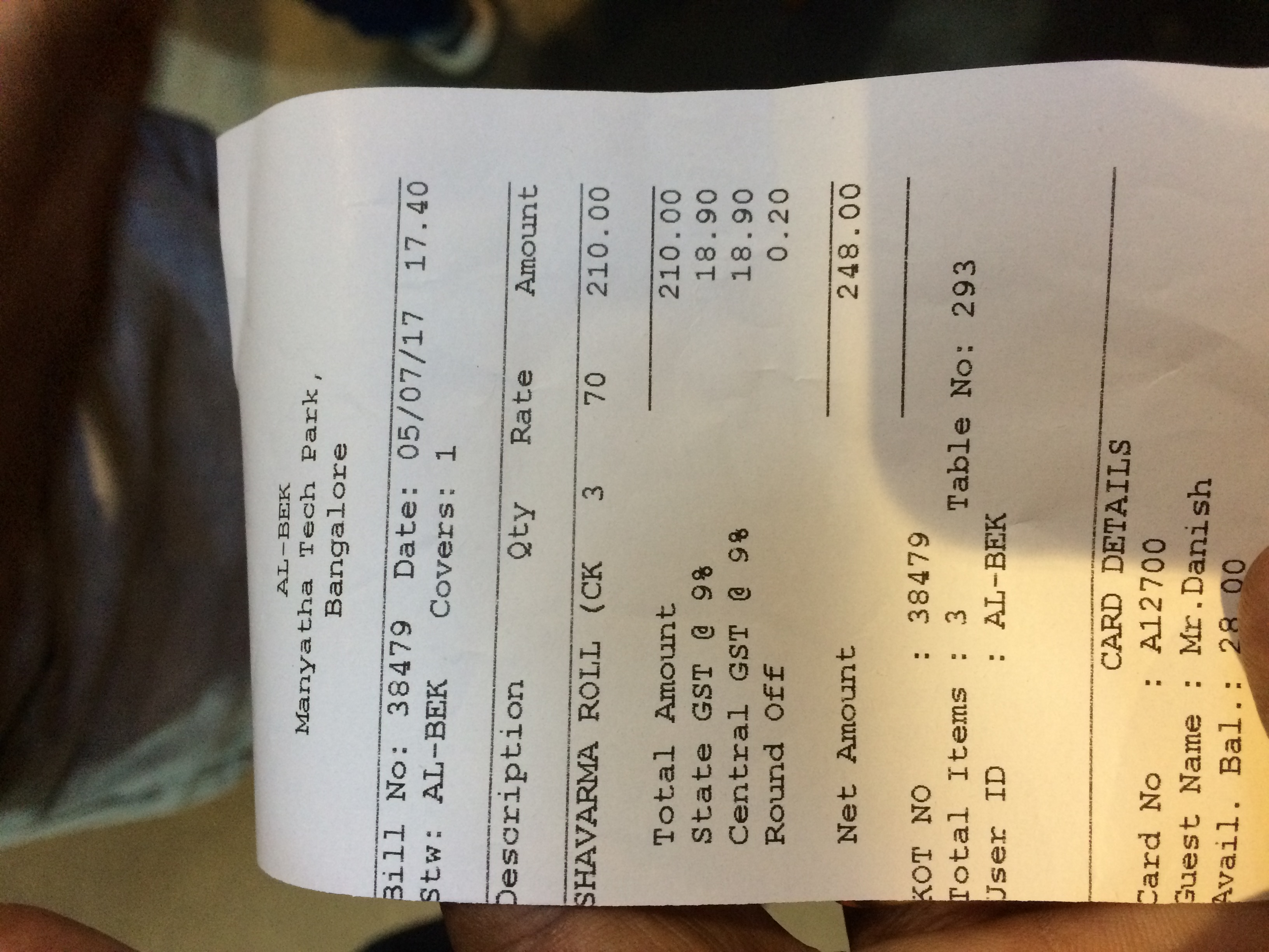 ALLBEK Restaurant Charging more after GST Tax Implemantation