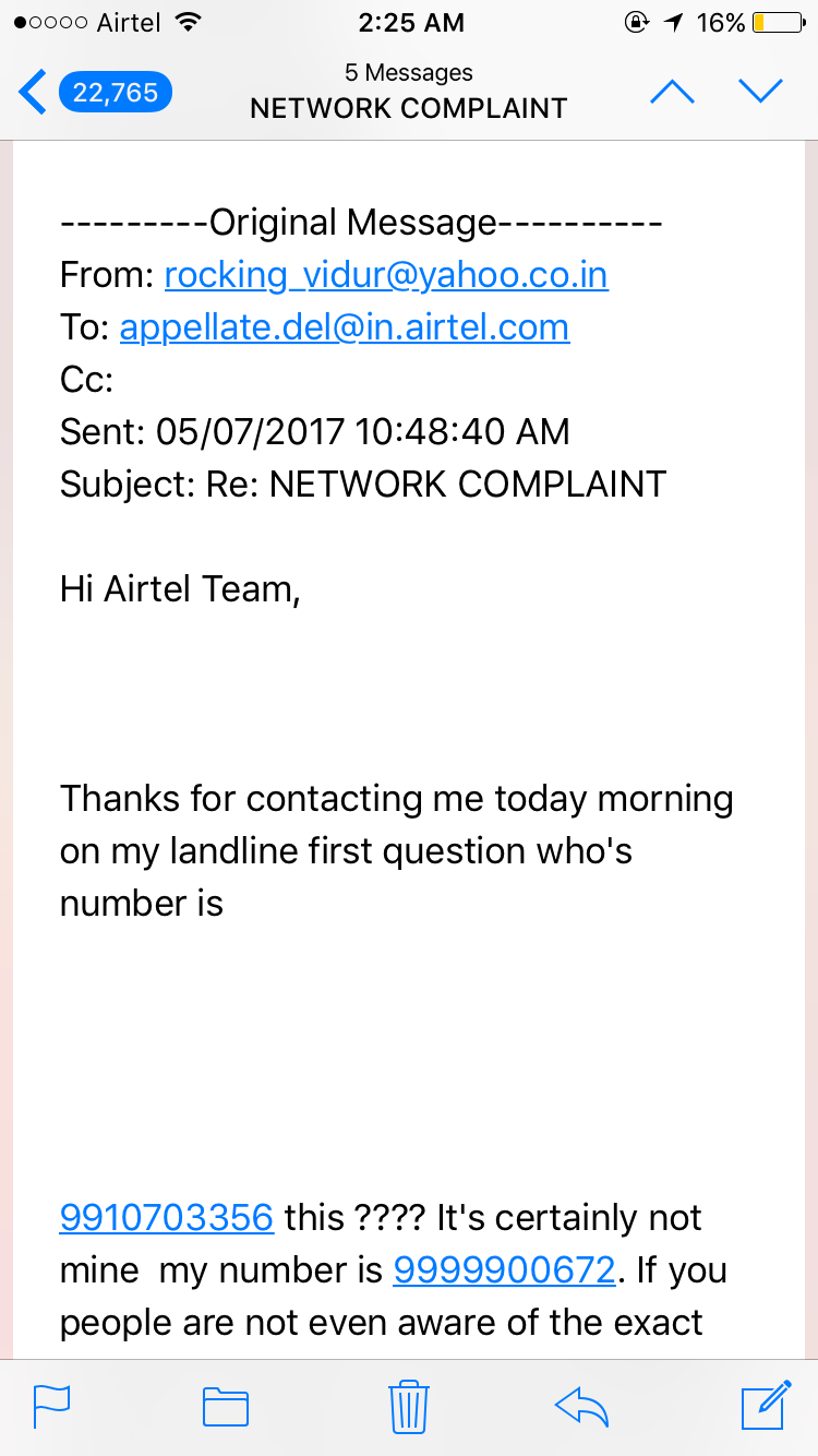 Network complaint not solved by airtel even having solution