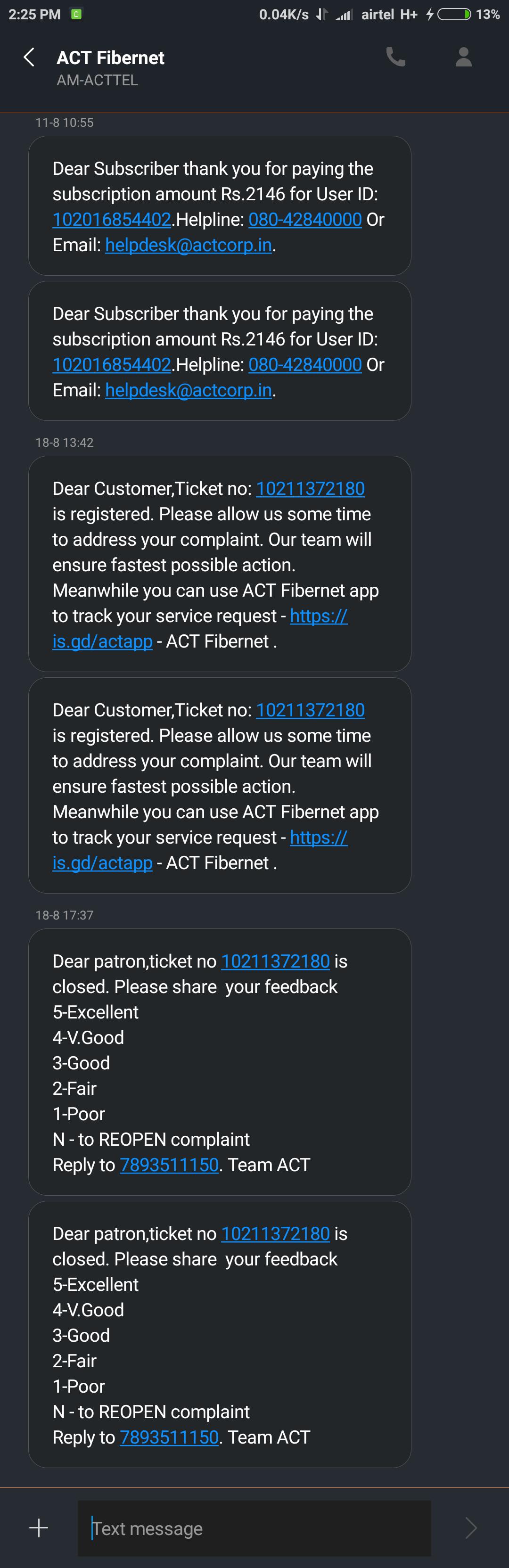 act fibernet customer care complaints and reviews