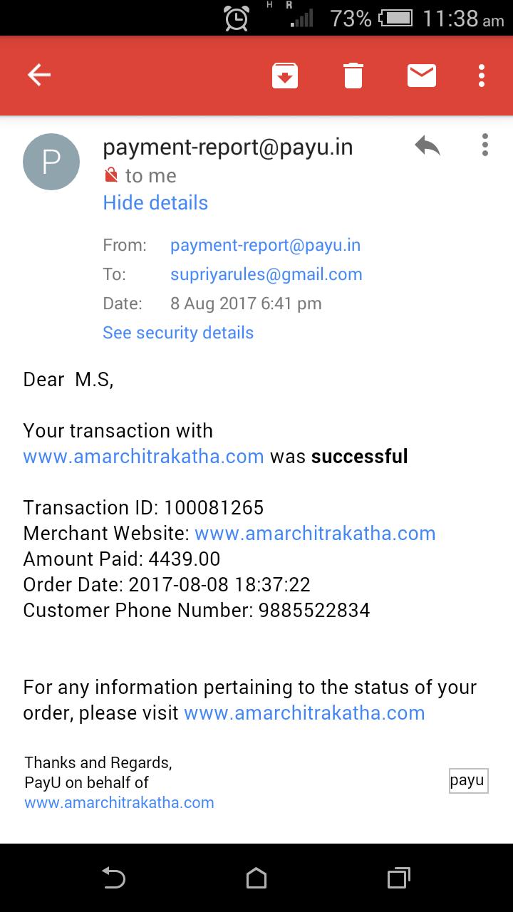 No customer support regarding order placed