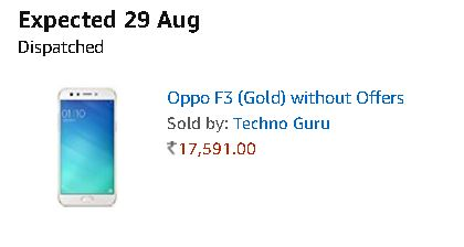 Oppo F3 Gold without Offers