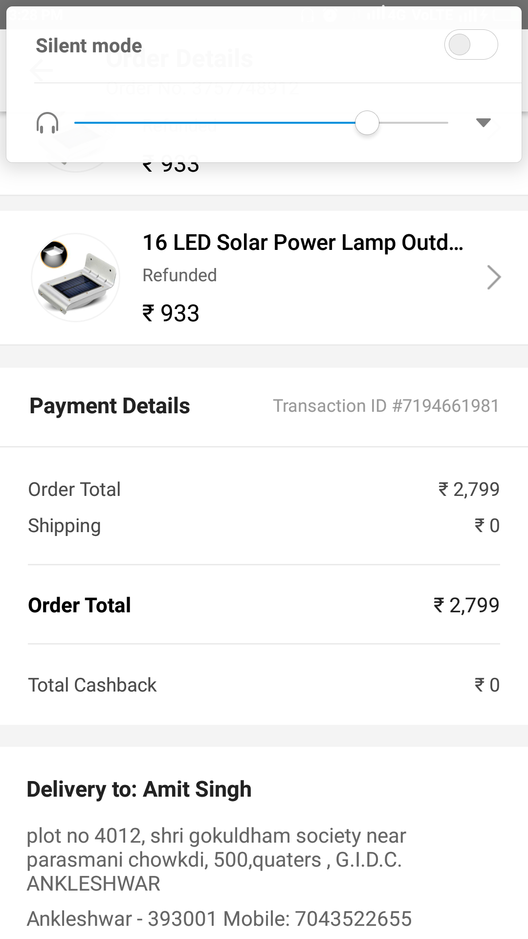 About my order of 2700 Indian rupees which I canceled but didnt get my refund its about 7 day no message from paytm after putting issue and quary