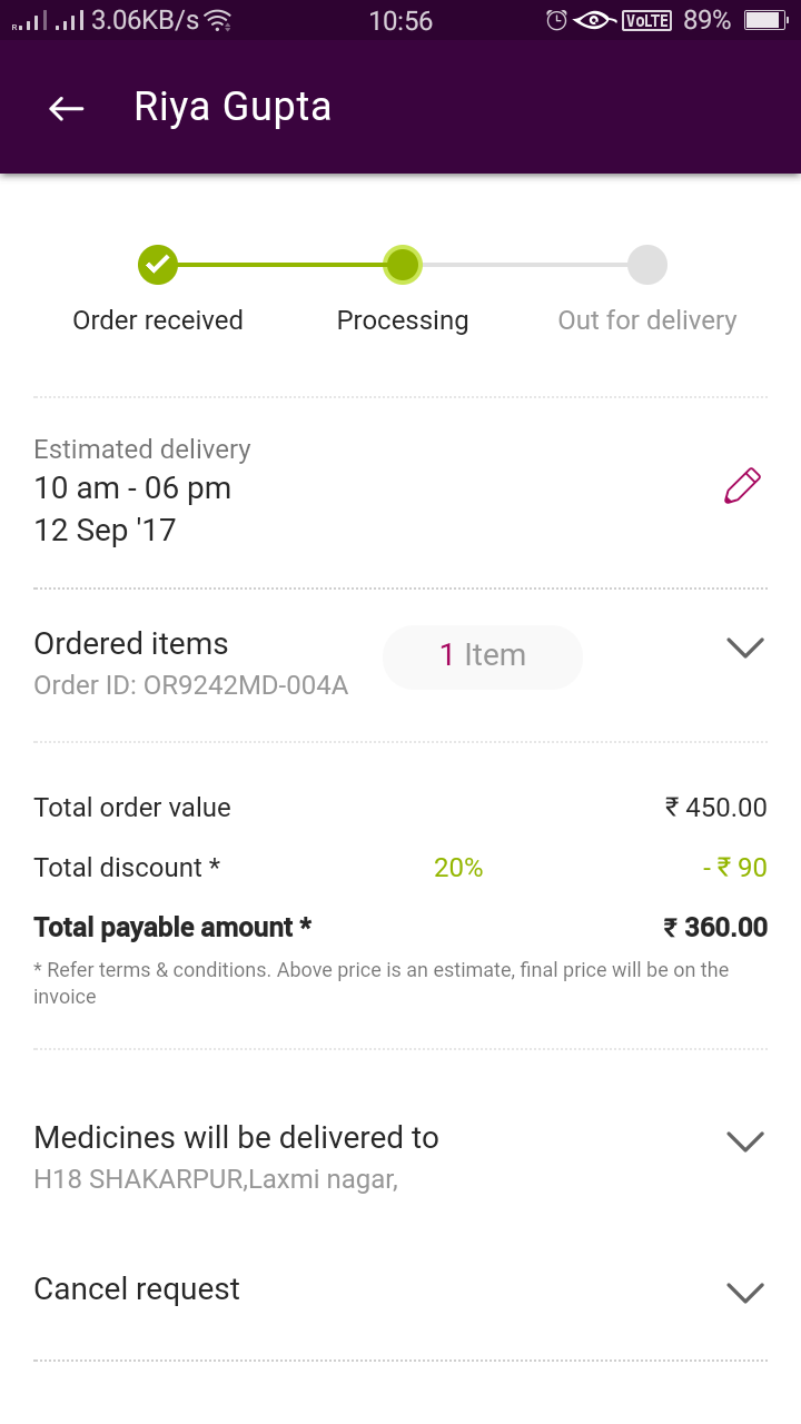 Not send order and giving assurance daily to send order and false claims of giving discount Over call