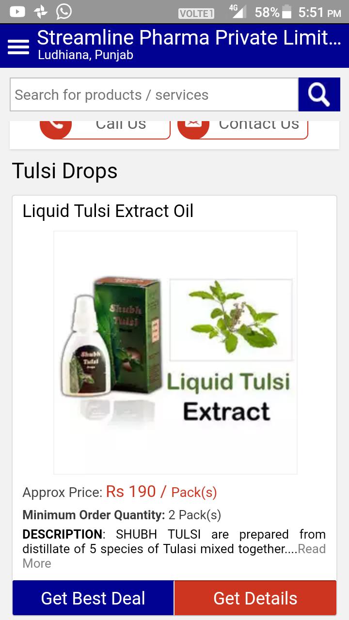 Supply of shubh tulsi drops