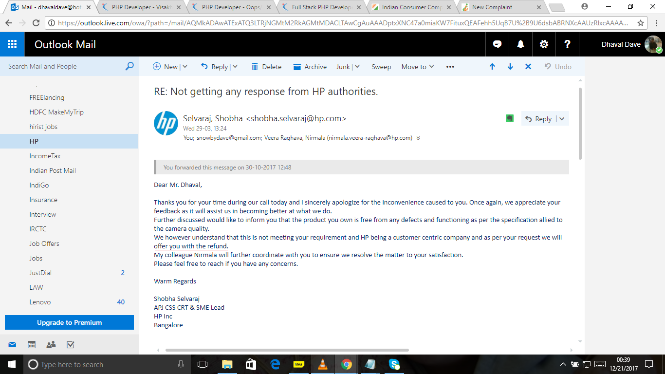 Refund was initiated by HP and then stopped.