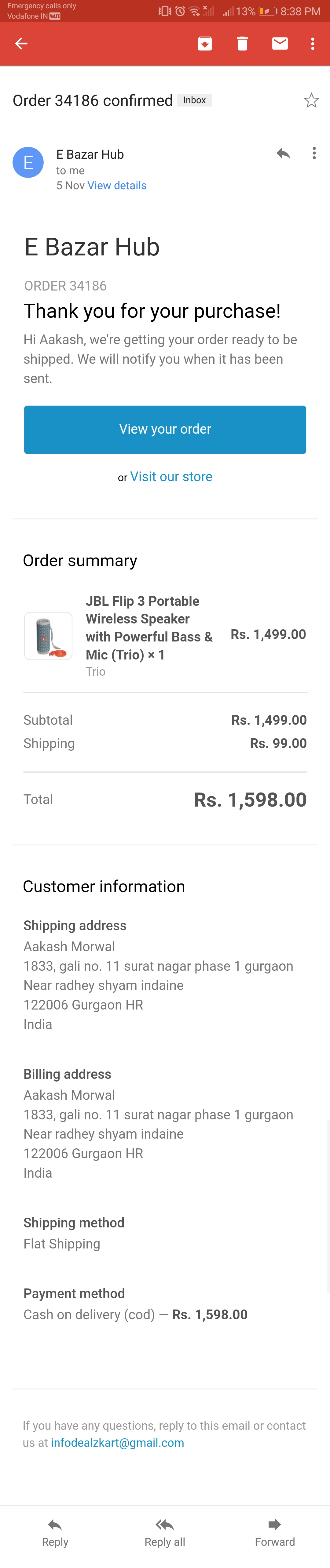 I was orderd Jbl flip 3 speaker. But you  send me a duplicate item. So i am not satisfied i want req