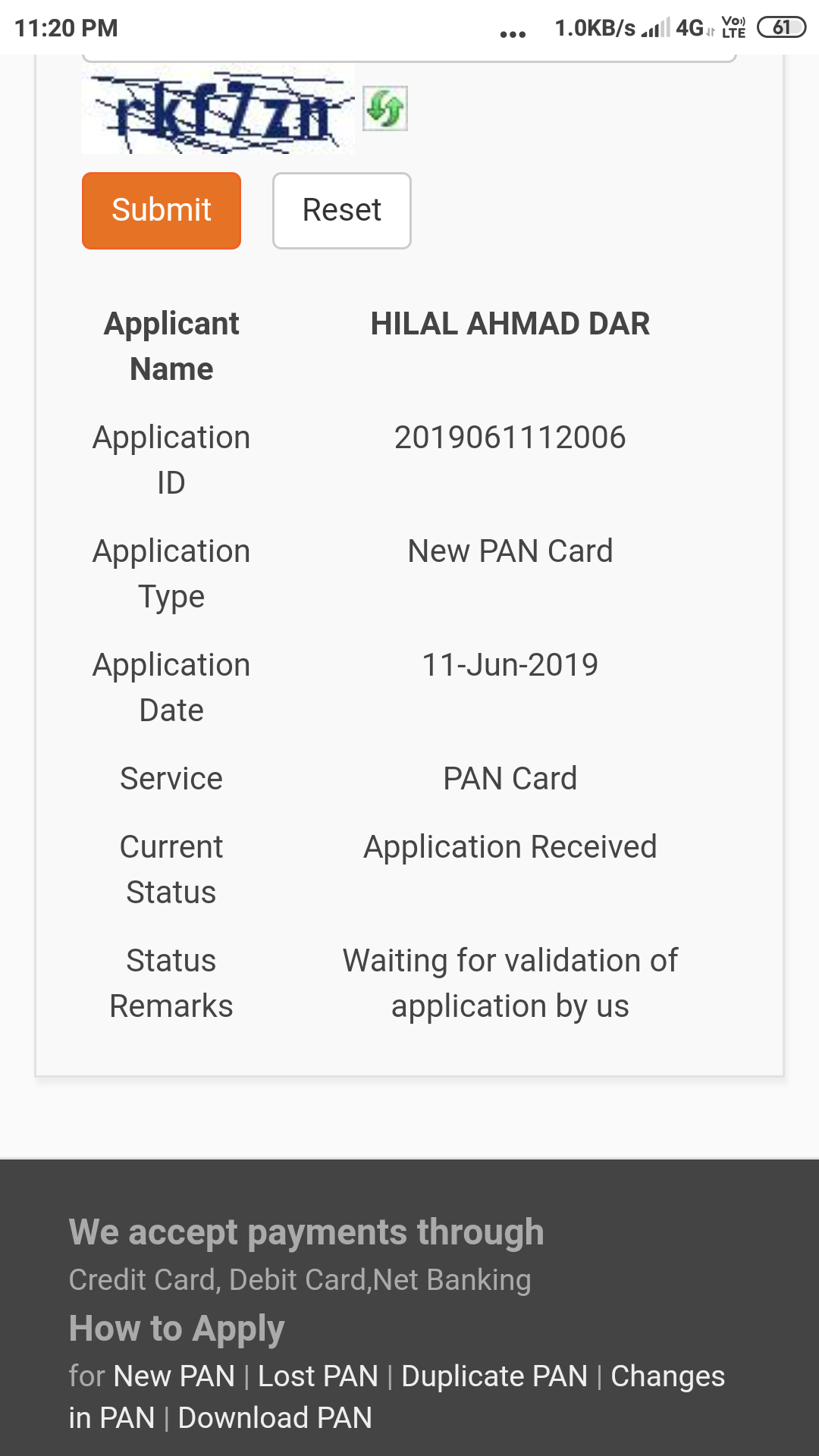 I checked my pan status there shows waiting for application validation by us u