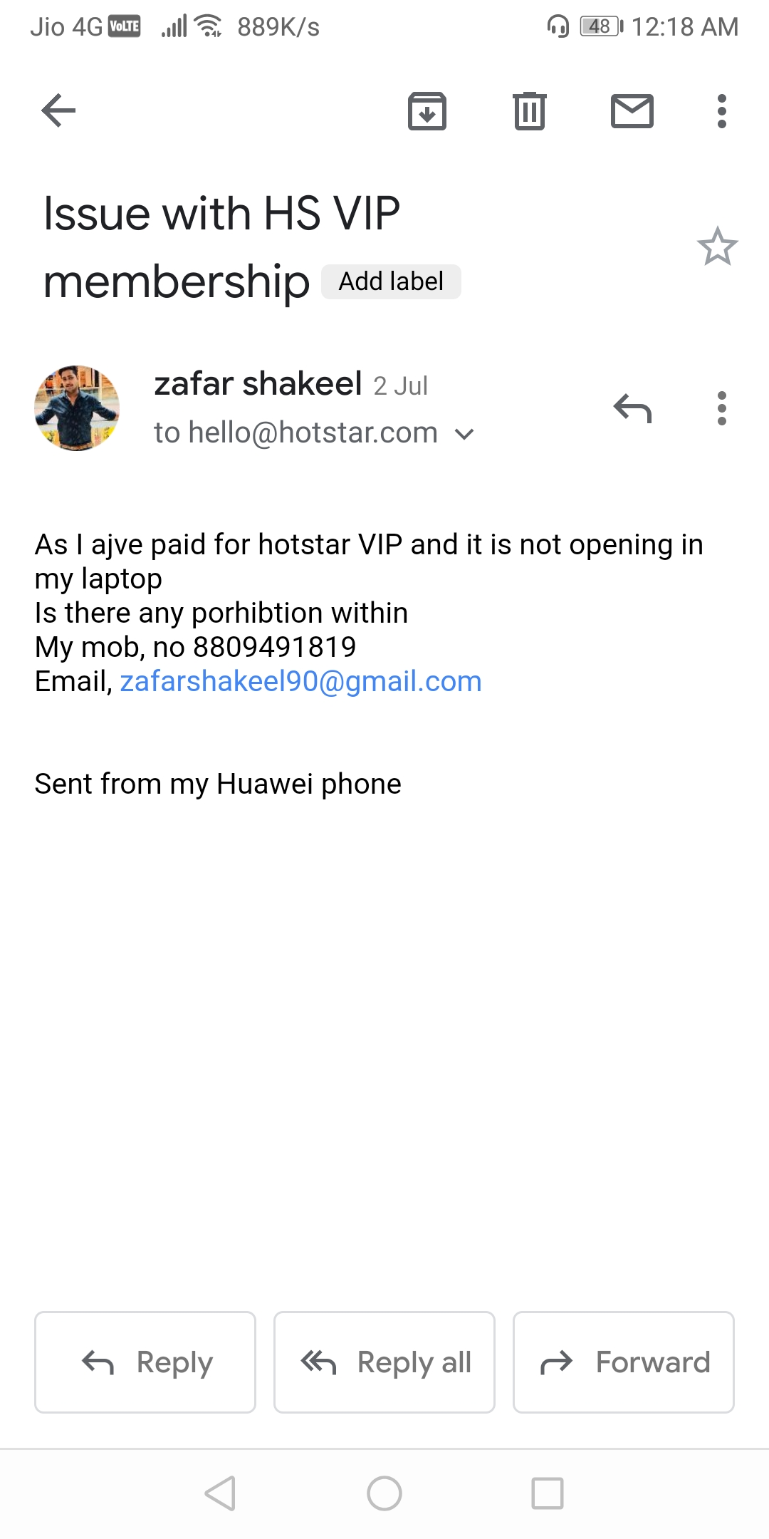 Hotstar Customer Care, Consumer Complaints and Reviews