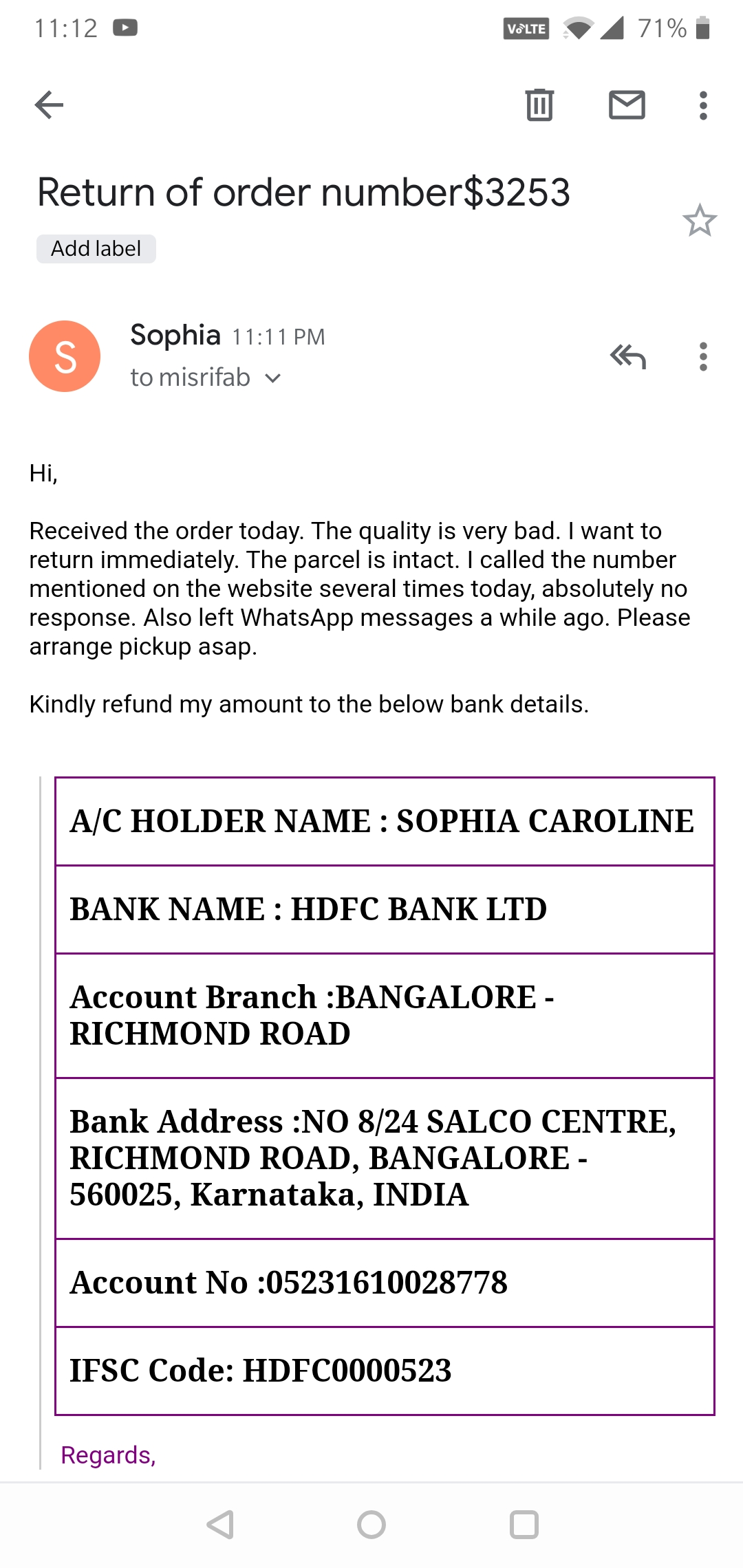 Very bad quality saree despatched trying to reach them since 2 days no response.