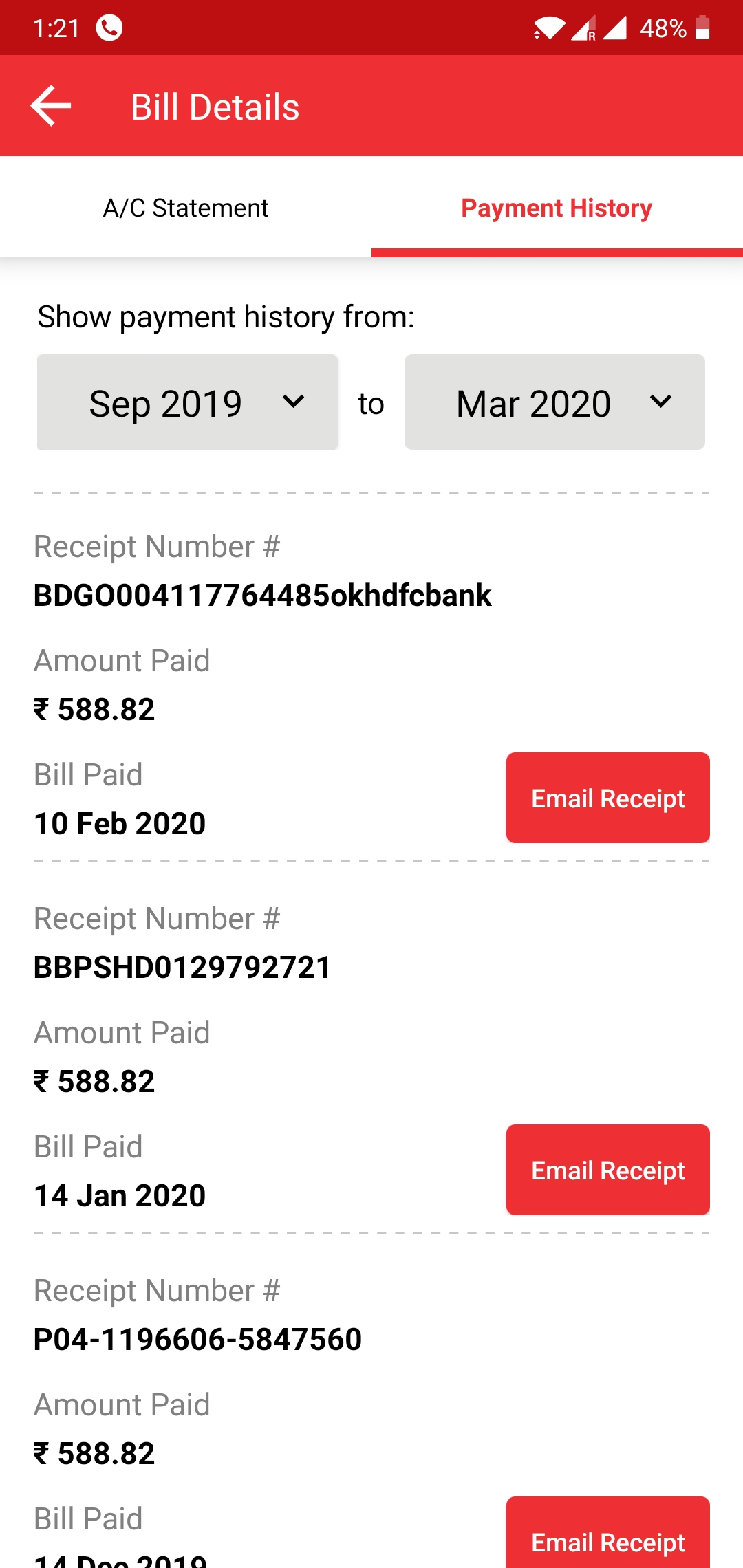 Late payment charges added though payment made in time
